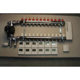 Gulvvarmestyring komplet system 12 kreds digital